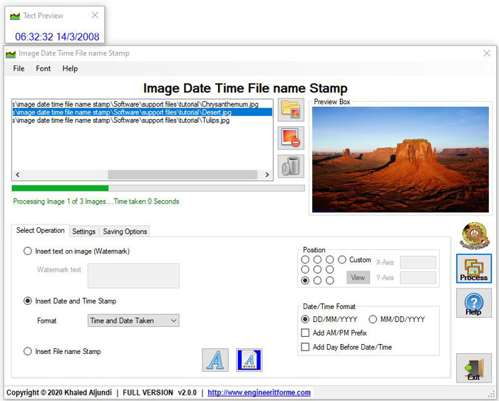 Stamp watermark date time or file name